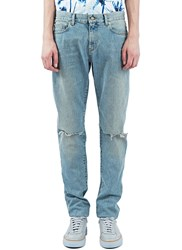 Ss16 Saint Laurent Low Waisted Washed Jeans Blue