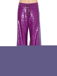 Alberta Ferretti Two Tone Sequined Track Pants Purple Lilac