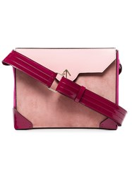 Manu Atelier Pink Bold Leather And Suede Cross Body Bag Pink And Purple
