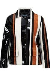 Prada Striped Suede And Glossed Leather Jacket Black