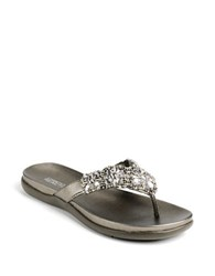 Kenneth Cole Reaction Glam Athon Thong Sandals Silver Glitter