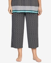 Ellen Tracy Plus Size Printed Cropped Pajama Pants Black Print
