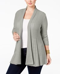 Ny Collection Plus Size Pointelle Knit Duster Cardigan Grey Heather