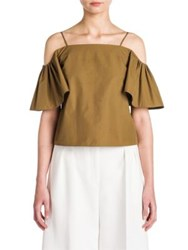 Fendi Off The Shoulder Cotton Taffeta Blouse Army Green