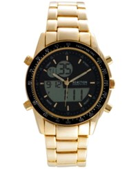 Kenneth Cole New York Men's Analog Digital Gold Tone Bracelet Watch 45X53mm 10030994
