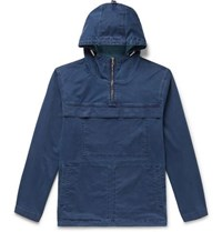 Orlebar Brown Hawthorn Indigo Dyed Denim Hooded Half Zip Anorak Navy