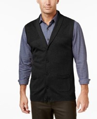 Tasso Elba Men's Big And Tall Shawl Collar Vest Only At Macy's Deep Black