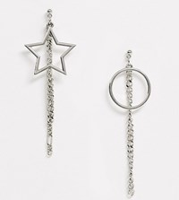 Reclaimed Vintage Inspired Drop Earrings With Circle And Star Silver