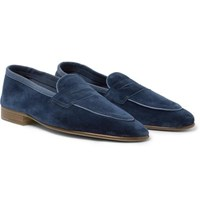 Edward Green Polperro Leather Trimmed Suede Penny Loafers Navy