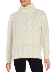 Rachel Zoe Embellished Cable Knit Sweater Ivory