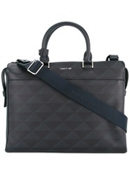 Cerruti 1881 Geometric Print Briefcase Blue
