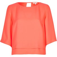 River Island Womens Bright Pink Cropped Top