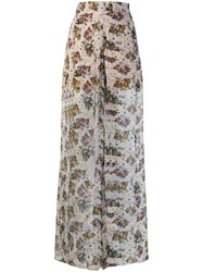 Iro Floral Print Palazzo Trousers Neutrals