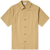 Acne Studios Short Sleeve Shepton Stripe Textured Shirt Neutrals