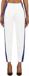 Alexander Mcqueen Ivory And Royal Blue Striped Pillar Trousers