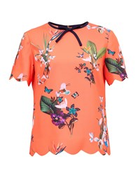 Ted Baker Syndi Tropical Oasis Bow And Scallop Detail Top Red