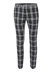 Topman Blue Navy And Grey Check Ultra Skinny Fit Dress Pants