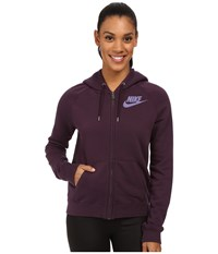 Nike Rally Full Zip Hoodie Noble Purple Noble Purple Washed Purple Women's Sweatshirt Brown