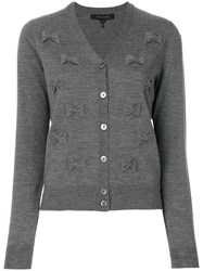 Marc Jacobs Bow Embroidered Cardigan Women Wool M Grey