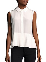 Magaschoni Sleeveless Solid Silk Top White