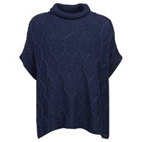 Barbour Cable And Purl Poncho Navy