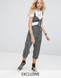 Reclaimed Vintage Inspired Drop Crotch Trousers In Tile Print Black