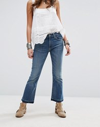 Denim And Supply Ralph Lauren By Madison Exposed Button Cropped Jeans Blue