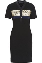 Proenza Schouler Elaphe Paneled Honeycomb Mesh Dress Black