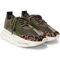 Versace Chain Reaction Panelled Mesh Sneakers Army Green