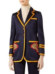 Gucci Embroidered Notched Jacket Navy Blue Multi