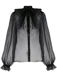 Dolce And Gabbana Lace Up Bow Blouse Black
