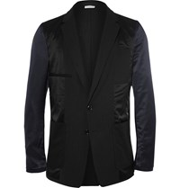 Dries Van Noten Black Inside Out Slim Fit Panelled Wool Satin Blazer