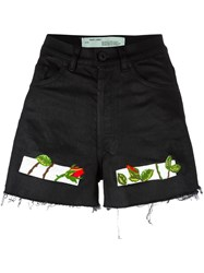 Off White Embroidered Shorts Black