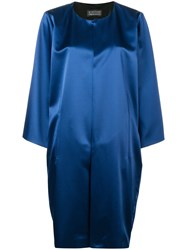 Gianluca Capannolo Collarless Mid Length Coat Blue