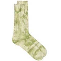 Anonymous Ism Uneven Dye Crew Sock Green