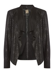 Biba Suedette Snake Waterfall Jacket Black