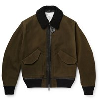 Berluti Shearling Bomber Jacket Green