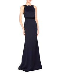 Roland Mouret Sleeveless Satin Gown W Contrast Lace Trim Navy Black