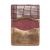 Sarah Baily Red Croc And Bronze Card Wallet