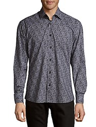 Bertigo Cotton Static Button Down Shirt Black