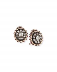 Sally Sohn Black Diamond And Ruby Stud Earrings