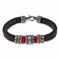 Platadepalo Classic Leather Bracelet With Red Red Silver