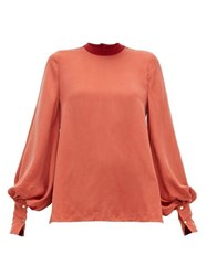 Roksanda Ilincic Cala Balloon Sleeve Twill Blouse Red