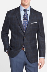 David Donahue 'Carey' Classic Fit Plaid Wool Blend Sport Coat Navy