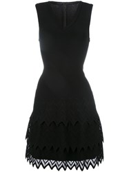 Azzedine Alaia Chevron Hem Dress Black