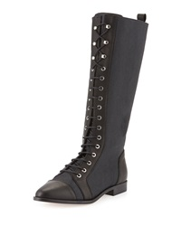 Etienne Aigner River Canvas Lace Up Boot Black Waxy