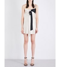 Area Amal Silk Satin Slip Dress Champagne Black