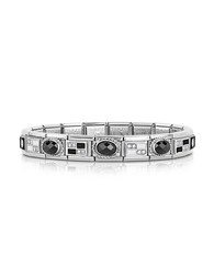 Nomination Classic Black And White Stainless Steel Bracelet W Zircons Silver