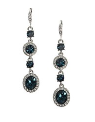 Givenchy Pear Shaped Pave Crystal Double Drop Earrings Silver