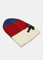 Gucci Striped Panther Applique Beanie Hat Red